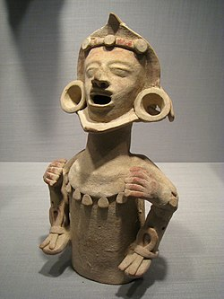 Ceramic Xipe Totec figurine from the Tehuacan Valley, 1150-1521 AD, in the Worcester Art Museum, Massachusetts.