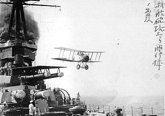 Japanese battleship Yamashiro - A Sparrowhawk taking off in 1922
