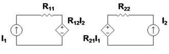Two-port network -  Figure 2: z-equivalent two port showing independent variables I1 and I2. Although resistors are shown, general impedances can be used instead.