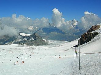 Canton of Valais - Summertime skiing on Matterhorn Glacier Paradise