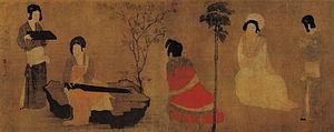 Zhou Fang (Tang dynasty) - Court Lady Tuning the Lute, attributed to Zhou Fang.