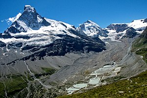 Zmutt Glacier - Zmutt valley with glacier on the right, the left peak is the Matterhorn
