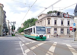 Tram-train - The Zwickau Model has main-line lightweight diesel tram-trains running through urban streets. Because the trams are metre gauge and the trains standard gauge the shared tracks are dual-gauge, with one shared rail and one exclusive rail for each.