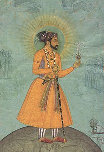 'Jujhar Singh Bundela Kneels in Submission to Shah Jahan', painted by Bichitr, c. 1630, Chester Beatty Library (cropped).jpg