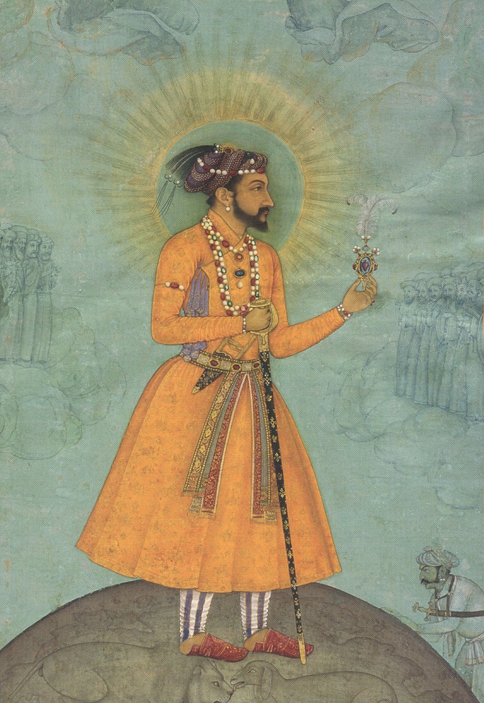 'Jujhar Singh Bundela Kneels in Submission to Shah Jahan', painted by Bichitr, c. 1630, Chester Beatty Library (cropped)