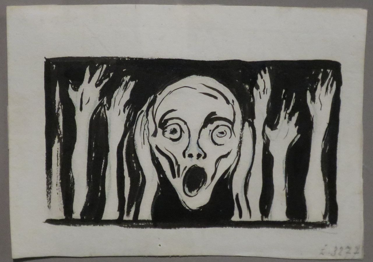 'The Scream', undated drawing Edvard Munch, Bergen Kunstmuseum.JPG