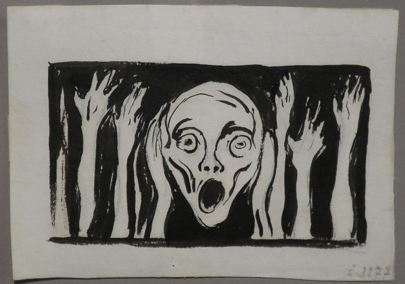 File:'The Scream', undated drawing Edvard Munch, Bergen Kunstmuseum.JPG