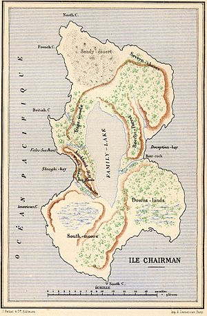"Two Years' Vacation - Map of ""Chairman Island"""