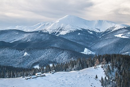 View of Carpathian National Park and Hoverla at 2,061 m (6,762 ft), the highest mountain in Ukraine Goverla z Kukula.jpg