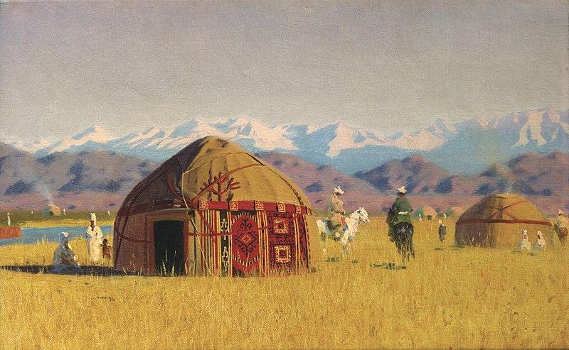 Киргизские кибитки на реке Чу, 1869-1870