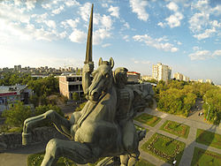 The district of Nor Nork seen from the statue of Hayk Bzhishkyan