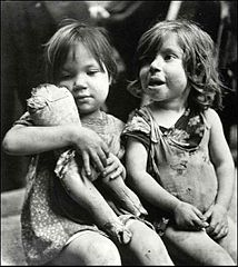 """Children In Naples, Italy"". Little girls. Photographed by Lieutenant Wayne Miller, July 1944. U.S. Navy Photograph, now in the collections of the National Archives.jpg"