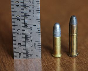 .22 Winchester Rimfire - .22 Winchester Rimfire (right) and .22 Long Rifle (left).