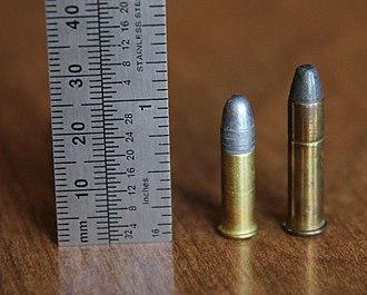 .22 Winchester Rimfire - .22 Winchester Rimfire (right) and .22 Long Rifle (left).