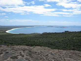 Rossiter Bay - Rossiter Bay from Mississippi Hill, Cape Le Grand National Park, January 2013.