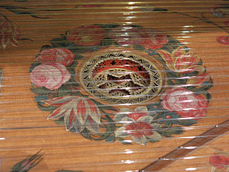 Harpsichord - Detail of the harpsichord by Karl Conrad Fleischer; Hamburg, 1720 in Museu de la Música de Barcelona. A decorative rose descends below the soundboard in which it is mounted; the soundboard itself is adorned with floral painting around the rose. The bridge is at lower right.