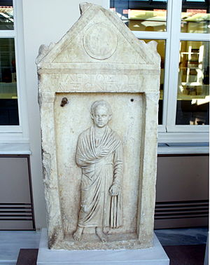 Toga - Funeray stele for a boy named Philetos, son of Philetos, from the deme of Aixone (near Athens in Roman Greece), 1st half of the 1st century AD