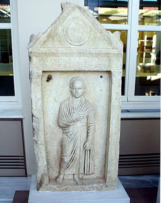 Toga - Funerary stele for a boy named Philetos, son of Philetos, from the deme of Aixone (near Athens in Roman Greece), 1st half of the 1st century AD