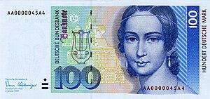 Hoch Conservatory - 100 DM bill Front