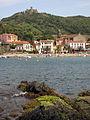 109 Esculls amb verdet, al fons Sant Domènec i el fort de Sant Elm.jpg