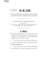 116th United States Congress H. R. 0000226 (1st session) - Clarity on Small Business Participation in Category Management Act of 2019 A - Introduced in House.pdf