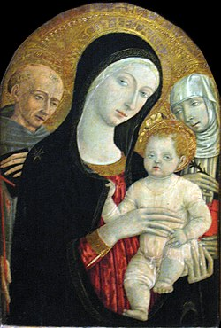 1479 di Giovanni Madonna and child with Saints Francis and Catherine of Siena anagoria.JPG