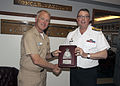 150424-N-SV210-039 Vice Adm. Thomas S. Rowden, Commander, Naval Surface Forces (COMNAVSURFOR), exchanges gifts with Vice Adm. Mark Norman.jpg