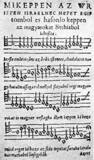 Music history of Hungary - Song by András Farkas from the 1533 Hofgreff Songbook