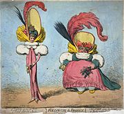 """Following the Fashion,"" a December 1794 caricature by James Gillray, which satirises incipient neoclassical trends in women's clothing styles, particularly the trend towards what was known at the time as ""short-bodied gowns""."