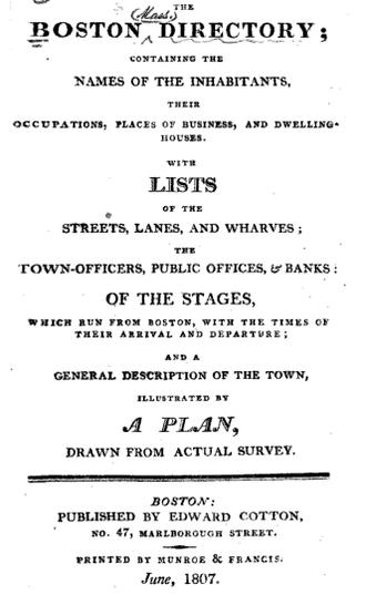 Boston Directory - 1807 Boston Directory title page