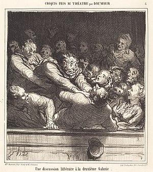 Caricature - Une discussion littéraire à la deuxième Galerie by Honoré Daumier  Lithograph published in Le Charivari newspaper, February 27, 1864