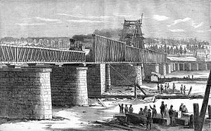 New York in the American Civil War - Railroad bridge at Albany used by troop trains during the Civil War