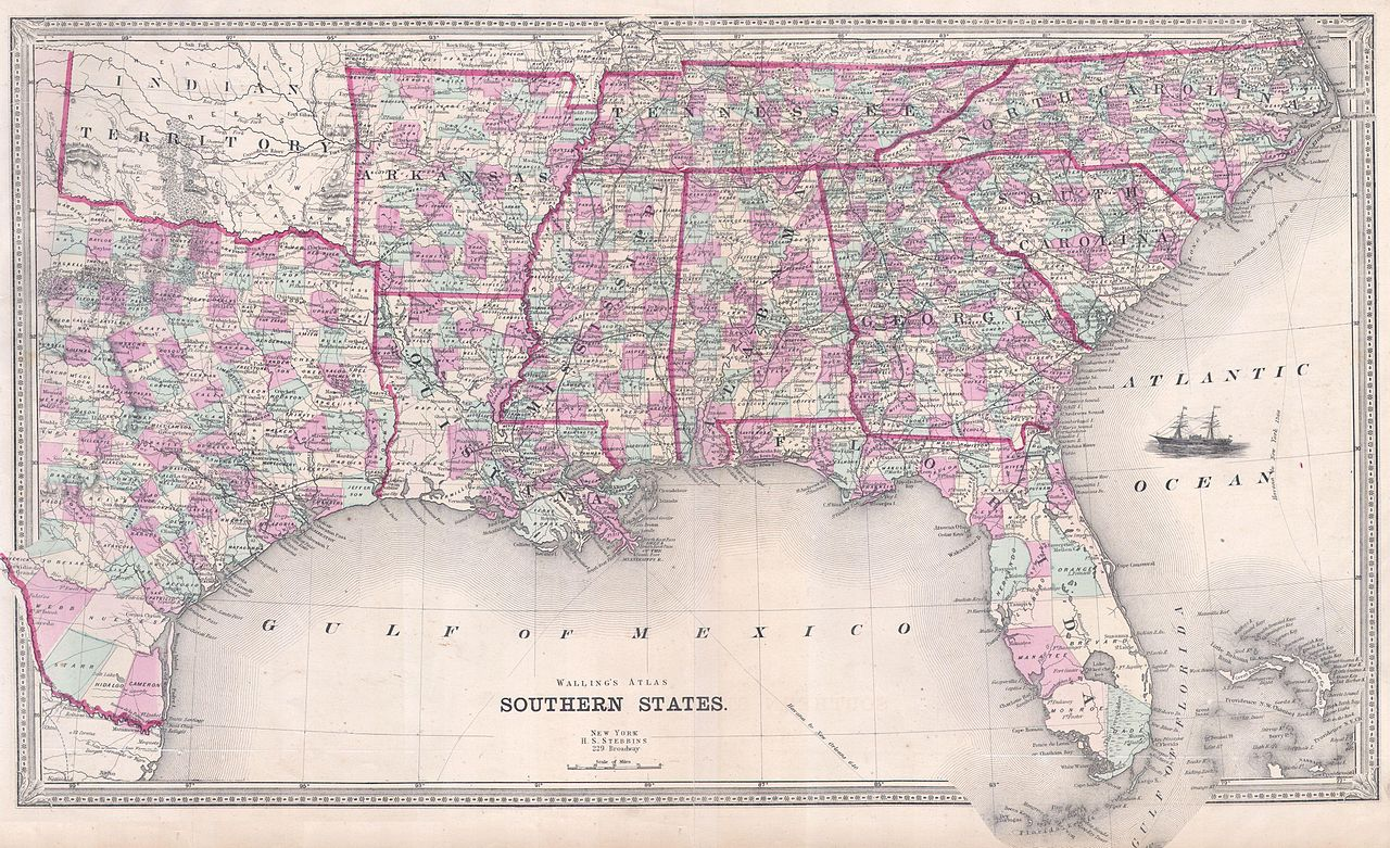 file 1868 walling map of texas  florida and the southern