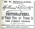 1888 Holland and Roberts photographers advert 10 Temple Place in Boston USA.png
