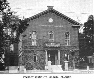 Peabody Institute Library (Peabody, Massachusetts) - 1899 view of the library