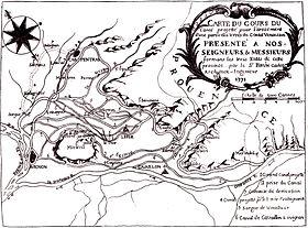 Carte des réseaux d'irrigation au XVIIIesiècle avec les différents bras de la Sorgue (notés 5)