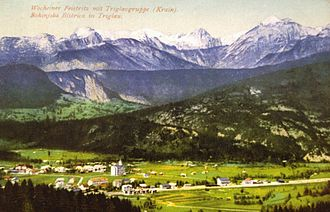 Bohinj - Picture of Bohinjska Bistrica with Mt. Triglav in the background, from 1905