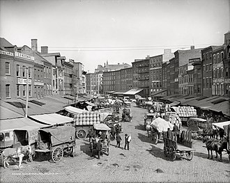 Dock Street Market - Dock Street Market in Philadelphia facing north from Spruce Street. Photo circa 1910.