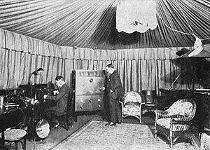WDY - WDY's hexagonal studio, located at General Electric's Aldene plant in Roselle Park, New Jersey, 1922.