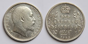 India Government Mint, Kolkata - Obverse: Profile of Edward VII surrounded by his name.