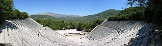 Theatre of ancient Greece - Panoramic view of the ancient theatre at Epidaurus.