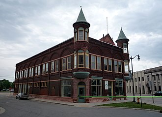 Marinette, Wisconsin - Dunlap Square Building in downtown, listed on the National Register of Historic Places