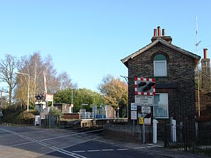 Westerfield railway station - View of the station from the level crossing