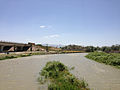2014-06-12 13 55 25 View down the Humboldt River from Melarkey Street (U.S. Route 95) in Winnemucca, Nevada.JPG