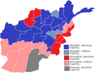 Abdullah, absolute majority   Abdullah, relative majority   Ahmadzai, absolute majority   Ahmadzai, relative majority   Rassoul, absolute majority