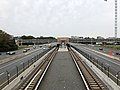2018-10-26 11 19 55 View west along Virginia State Route 267 (Dulles Toll and Access Roads) and the Silver Line of the Washington Metro from the overpass for Virginia State Route 828 (Wiehle Avenue) in Reston, Fairfax County, Virginia.jpg