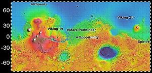Opportunity mission timeline - Overall location of Opportunity on the planet Mars