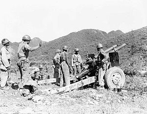 Battle of Sangju (1950) - US artillery fires on North Korean targets.