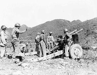 Battle of Sangju (1950) - US artillery fires on North Korean targets.