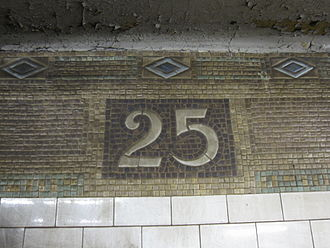 25th Street (BMT Fourth Avenue Line) - Original mosaic tiles